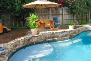 Pool Backyard Setup Lawn Chairs Umbrella